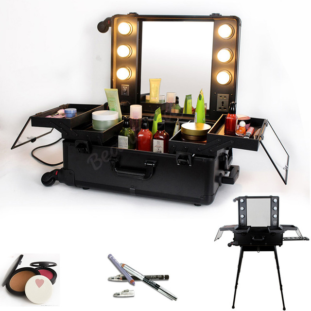 Black Color Professional Make Up Artist Lighted Makeup Station With Stand Aluminum Cosmetic Case