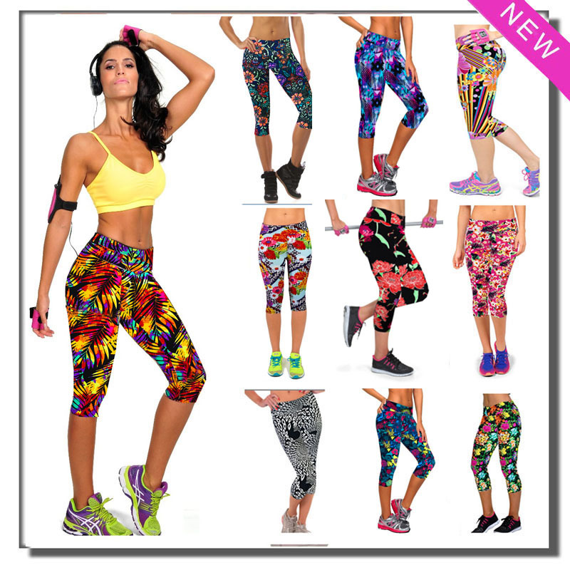 Fitness Leggings Capris Exercise Floral-Print Dance Workout High-Waist Plus-Size Summer