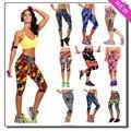 2017 New Summer Женская Мода Плюс Размер Капри Случайные Танец Упражнение Фитнес Леггинсы Эластичный Тренировки Высокой Талией Цветочный Принт