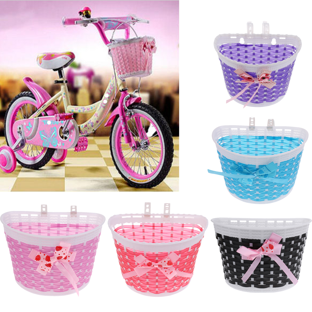 Girls Bicycle Front Basket Lovely Bowknot Shopping Stabilizers <font><b>Bike</b></font> Handlebar <font><b>Case</b></font> for Children Kids Cycling 5-Color image