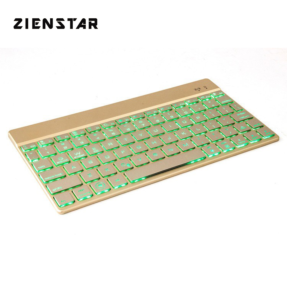 Zienstar Ultra Slim Wireless KEYBOARD Bluetooth 3.0 with 7 Colors LED Back Light for IPAD/Iphone/Mac/LAPTOP /DESKTOP PC/ TABLET zienstar azerty french language ultra slim wireless keyboard bluetooth 3 0 for ipad iphone macbook pc computer android tablet