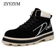 ZYYZYM Men Casual Shoes Autumn High-Top Style British Retro Leather Short Boots Youth Men Shoes