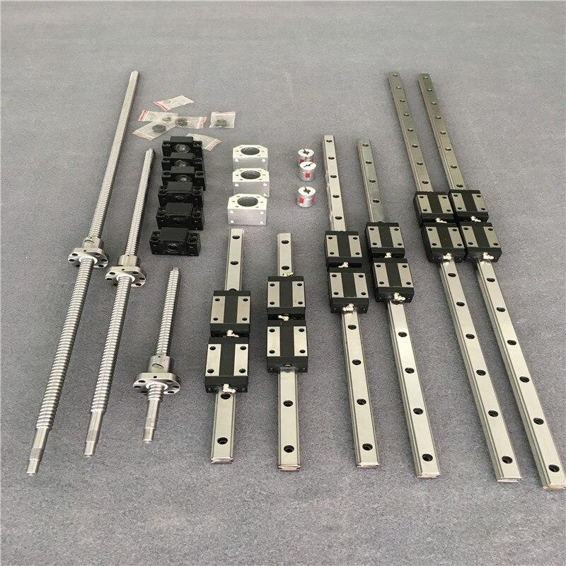 HGR20 6 jeux de rails de guidage linéaires carrés HGH20CA + vis à billes SFU1605/SFU1610 400/700/1000 + BK/BK12 + boîtier écrou + coupleur CNC