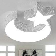 Modern minimalist led ceiling lamp romantic star moon study bedroom dimming wrought iron lighting