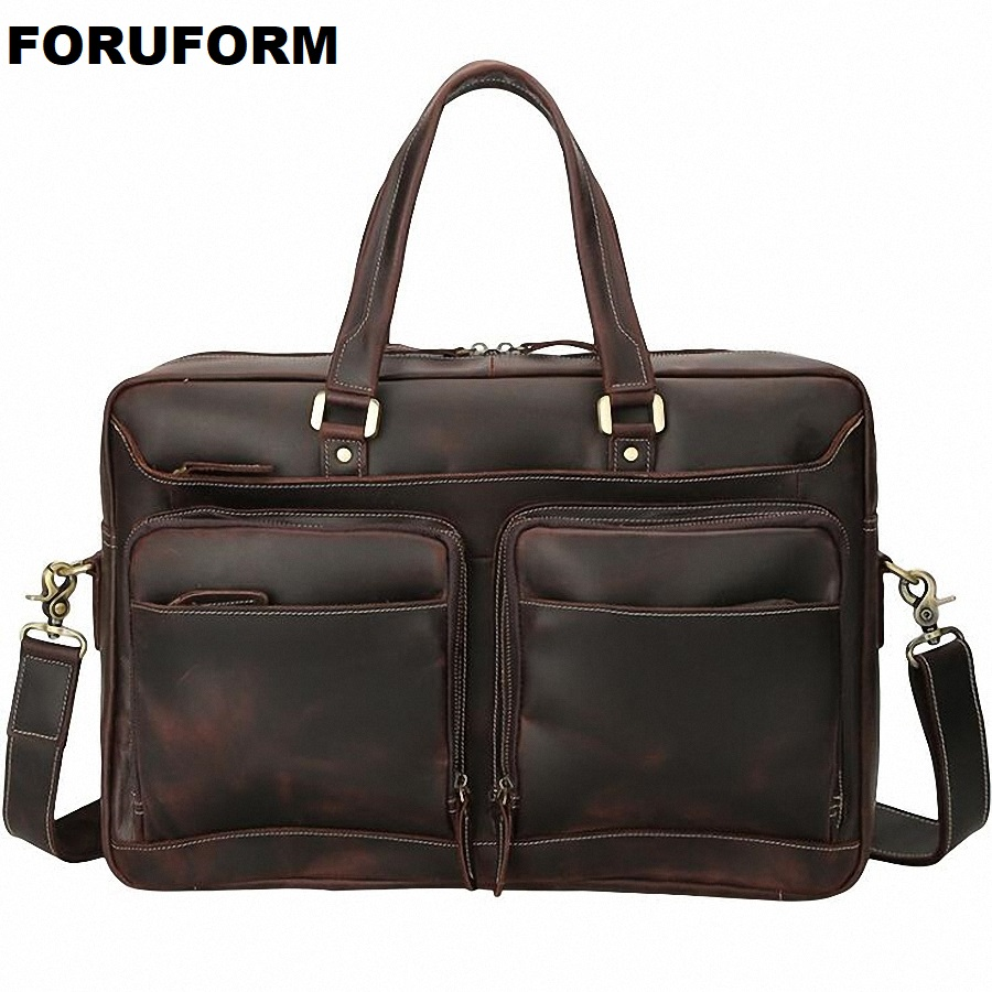 купить Vintage Crazy Horse Leather Men's Briefcase 17 inch Laptop Bag Business Bag Genuine Leather Briefcase Men Shoulder Bag LI-2273 по цене 8766.65 рублей