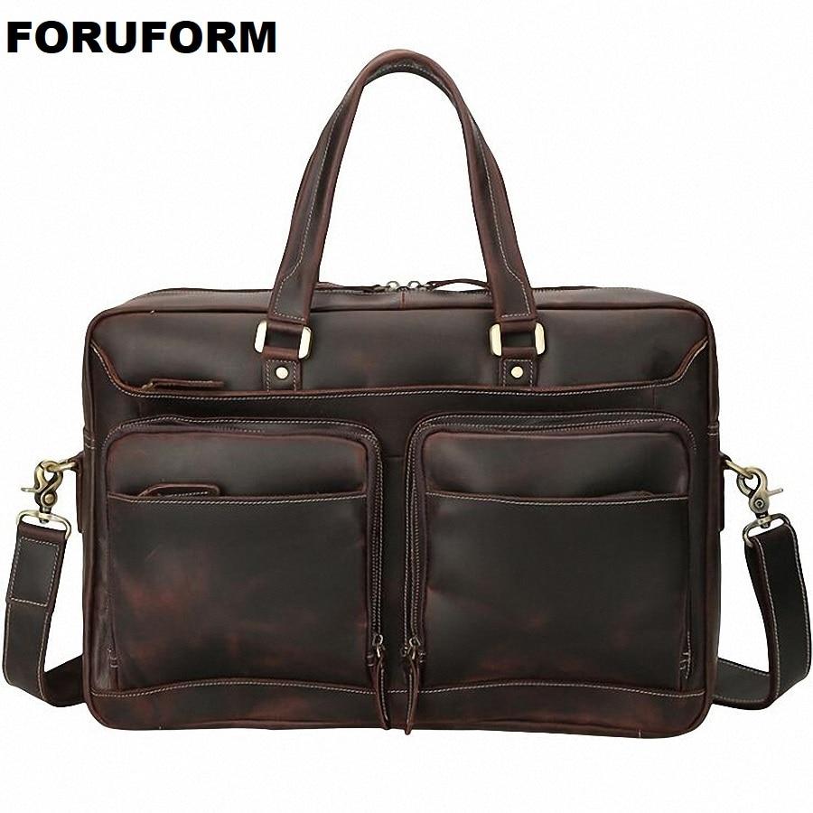 Vintage Crazy Horse Leather Men's Briefcase 17 Inch Laptop Bag Business Bag Genuine Leather Briefcase Men Shoulder Bag LI-2273