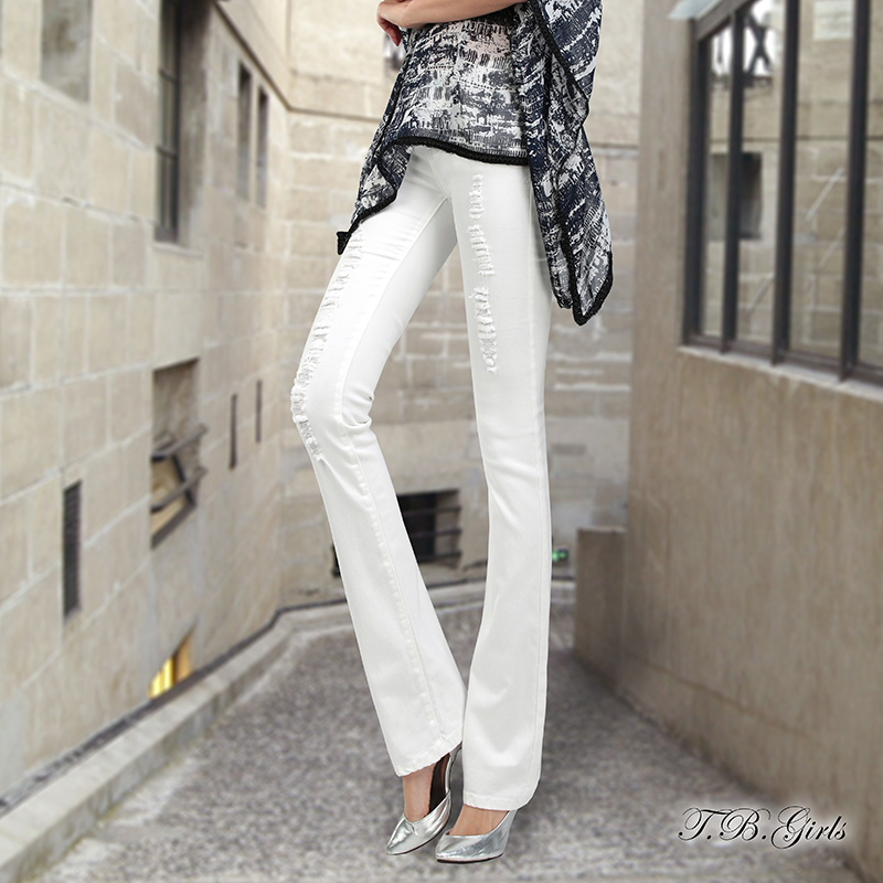 2016 korean new fashion summer all match woman jeans thin slim hole white flare pants elastic