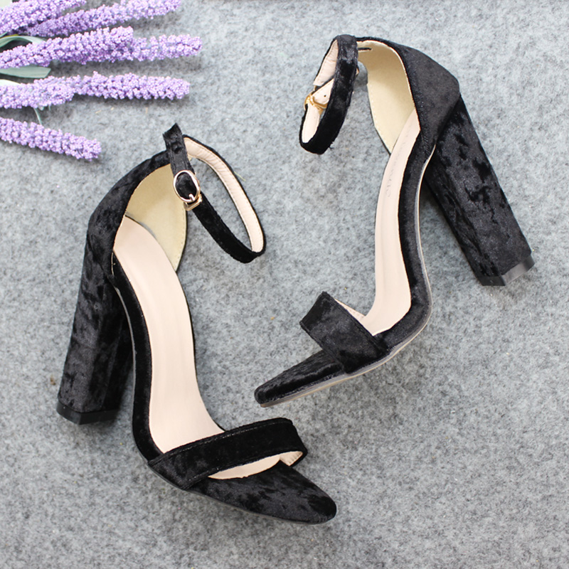 2018 New Design Brand Nmes Women's Peep Toe Velvet A Simple Classic Coarse High Heels Sandals Square Thick Heel Woman Shoes Rose