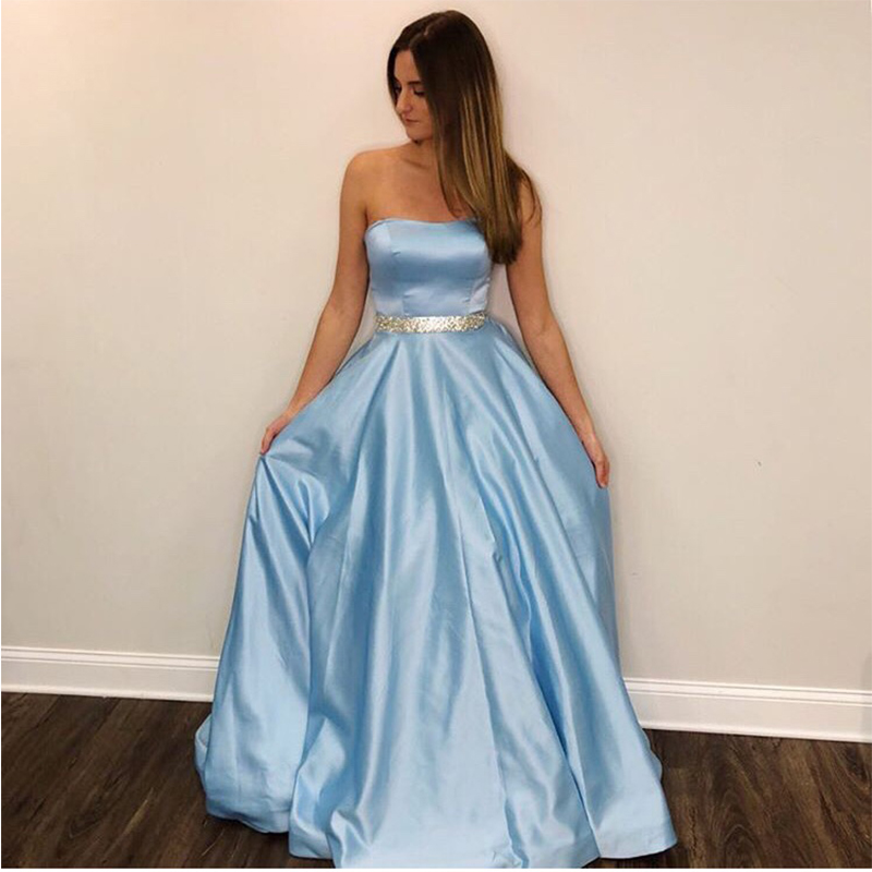 Light Sky Blue   Prom     Dresses   A-line Strapless Evening Gowns Floor Length Custom Women Formal Party   Dress   Beaded Sash   Prom   Gowns