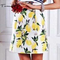 Truevoker Fashion Designer Skirt Women's High Quality Crystal Diamond Button Yellow Lemon Fruit Pritned Embossed Mini Skirt