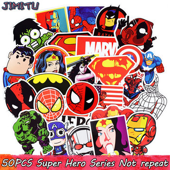 50 PCS Mixed Funny Anime Super Hero Stickers For Laptop Skateboard Etc.