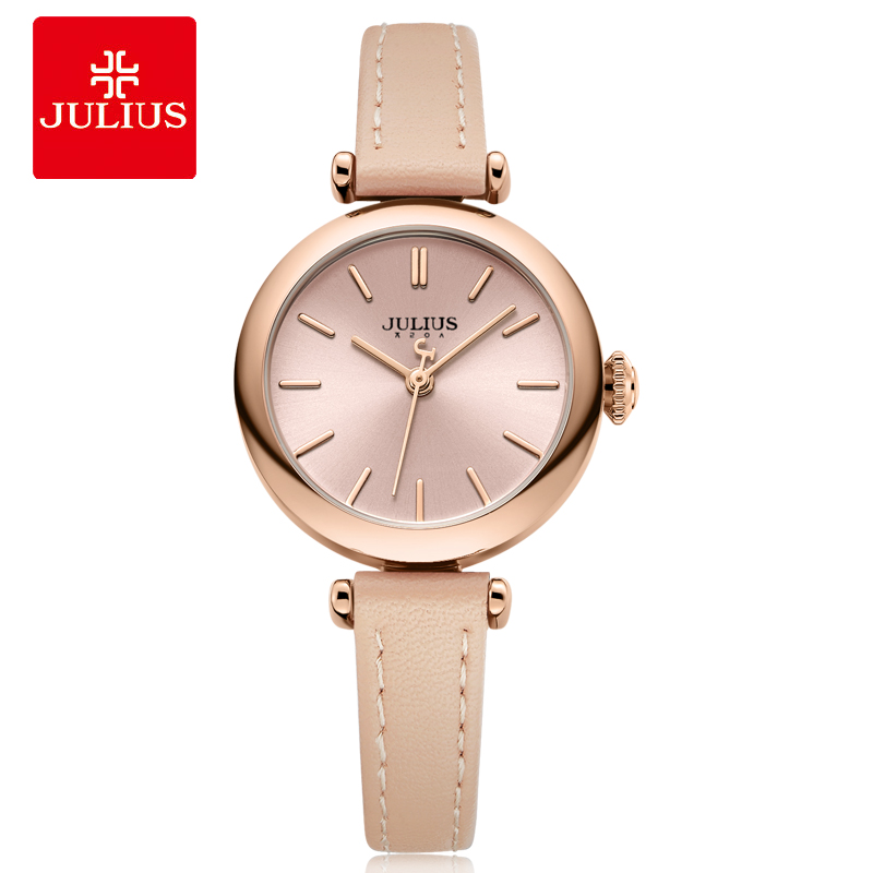 JULIUS Simplicity Women's Dress Watch Classic Leather Strap Watches Slim Ladies Japan Quartz Movt High-End Luxury Reloj JA-1018 цена