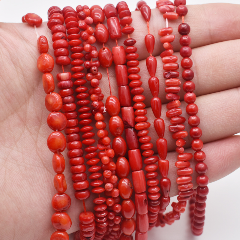 Natural Stone Bead Irregular Round Shape Red Coral Beads jewelry Spacer Beads Strand 15 quot For DIY Bracelet Necklace Jewelry Making in Beads from Jewelry amp Accessories