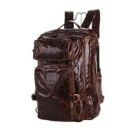 Vintage Genuine Leather Men Travel bags Duffle Bag Male Luggage Travel Bag Cowhide Men's Backpack Large Weekend Bag Big J7048