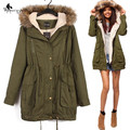 WomensDate 2016 Winter Women Parka Casual Outwear Military Hooded Coat Winter Jacket Women Fur Coats Woman Clothes Manteau Femme