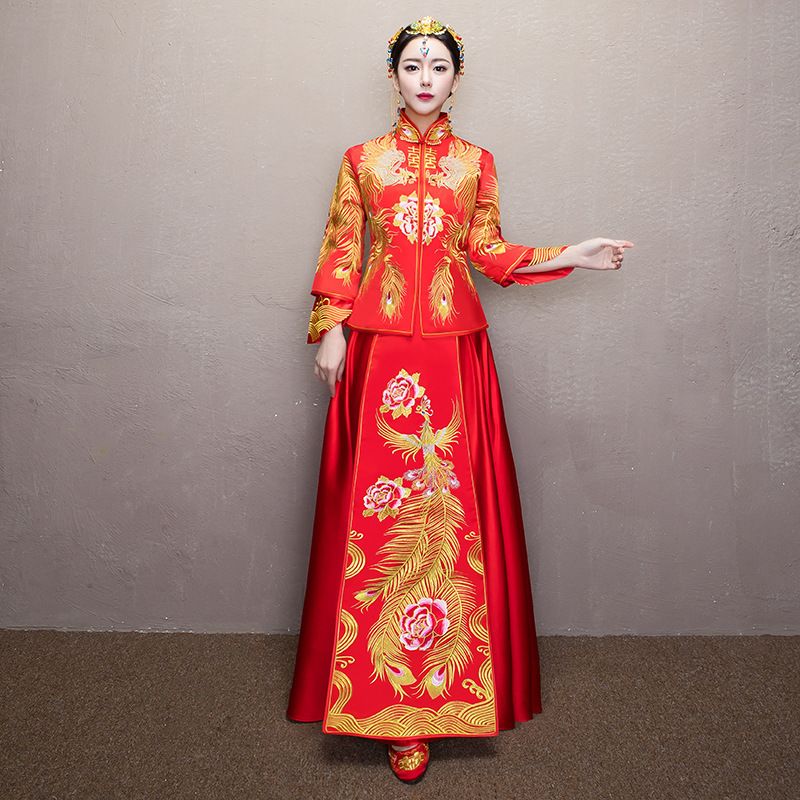 Wedding Gowns In China: Women Traditional Chinese Wedding Gown 2017 New Red