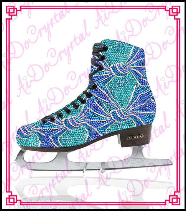цена  Aidocrystal 2015 glitter blue ice skating shoes,crystal figure skate sport shoes  онлайн в 2017 году