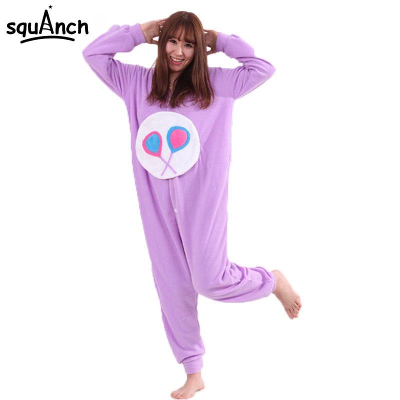 Purple Care Bears Onesie Kigurumis Cartoon Animal Pajamas Women Girl Adult Lovely Sleepwear Winter Long Sleeve Party Jumpsuit
