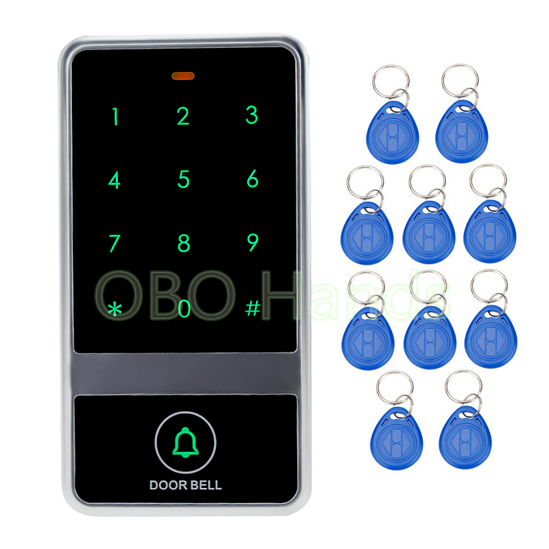 8000 users card waterproof access control keypad electric touch metal door locks+10 RFID Key Fobs for Door Access Control System diysecur 50pcs lot 125khz rfid card key fobs door key for access control system rfid reader use red