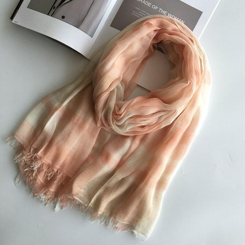 Plaid   Scarf   Shawl Women's Fashion Contrast Color Tassel   Scarves   Long Modal Silk   Scarf     Wraps