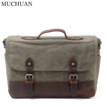 MUCHUAN Men Bag High Quality Canvas Male Handbag Cover Vintage Messenger Bag England Style Men School Bag Daily Business