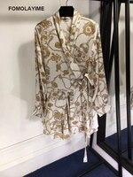 FOMOLAYIME 2018 Women High Quality Dress Female Summer Fashion V Neck Print Dresses Vestidos Long Sleeved