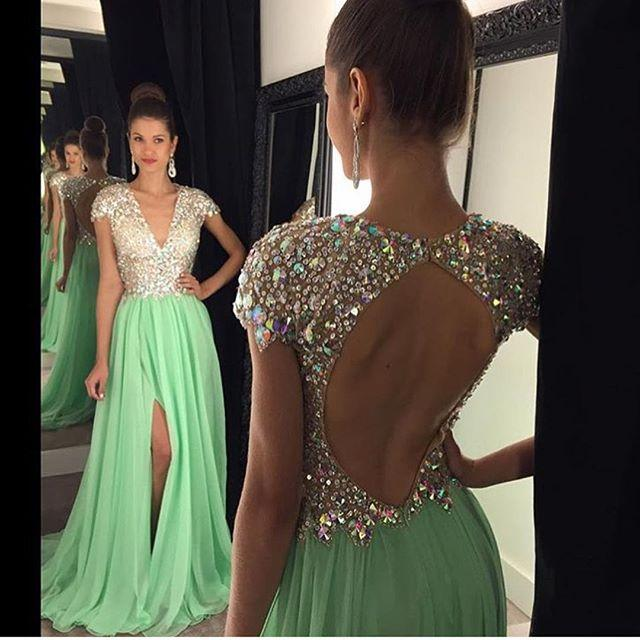 New Design Long   Prom     Dresses   V-Neck Short Sleeve Floor Length A-Line Crystal Beading Chiffon Side Front Evening   Dress   2017