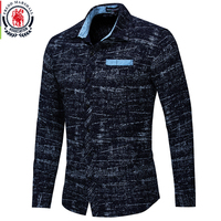 Men shirt Autumn 2018 New Long Sleeve Casual Business Mens Dress Shirt All Over Printed Luxury Shirt Brand Mens Clothes EU size