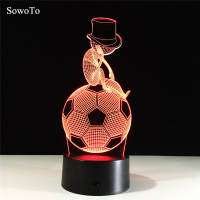 Thinking Cute Football 7 Color Lamp 3d Visual Bluetooth Music Night Light For Kid Touch USB