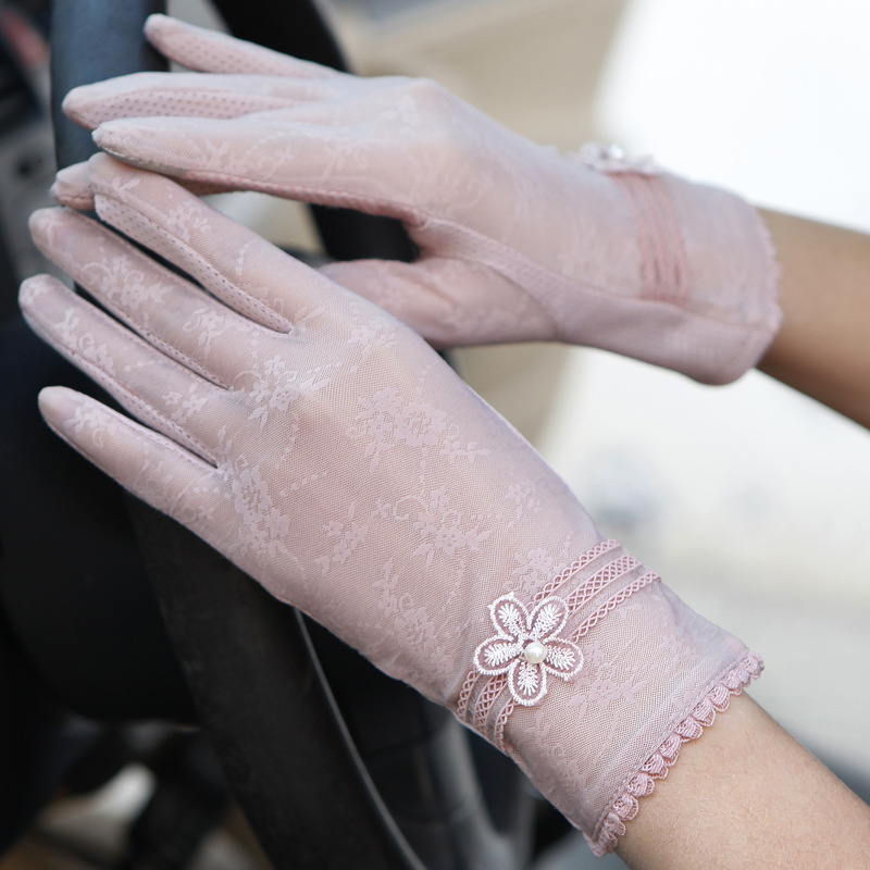 Sexy Spring Summer Women Autumn UV Sunscreen Short  Sun Gloves Fashion Ice Silk Lace Driving Of Thin Touch Screen Gloves G06F