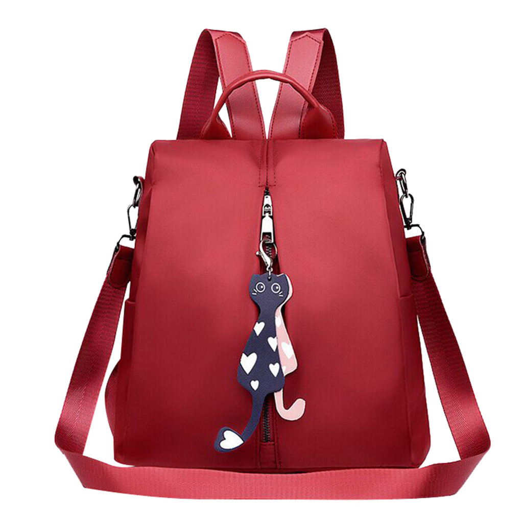 Women Backpacks Pure Color Red Blue Fashion Wild Oxford Cloth Mother Student Bag Small Shoulder Bag Outdoor Schoolbags Bookbags