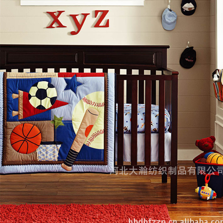 Promotion! 6PCS Boy Baby Crib Bedding set Embroidered Comforter Bumpers Sheet Blanket (bumper+duvet+bed cover)