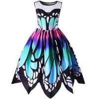 2018 Fashion Plus Size 5XL Womens Vintage Butterfly Print Boho Summer Dress Robe Hepburn 50s 60s