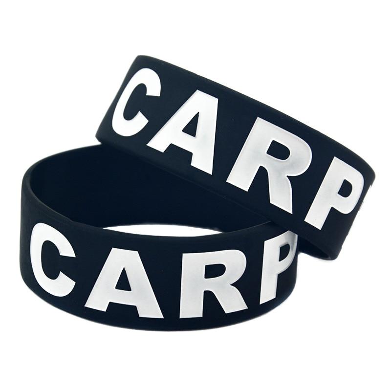 OneBandaHouse 25PCS/Lot Carpe Diem Silicone Wristband Fashion Classic Bracelet 1 Inch Wide Black Bangle