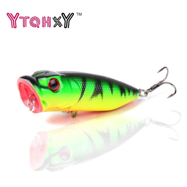 1pcs Popper Fishing Lures 5 colors hard bait 6.5cm 13g fishing bait 6# fishhooks fishing tackle Crankbait Wobblers YE-203