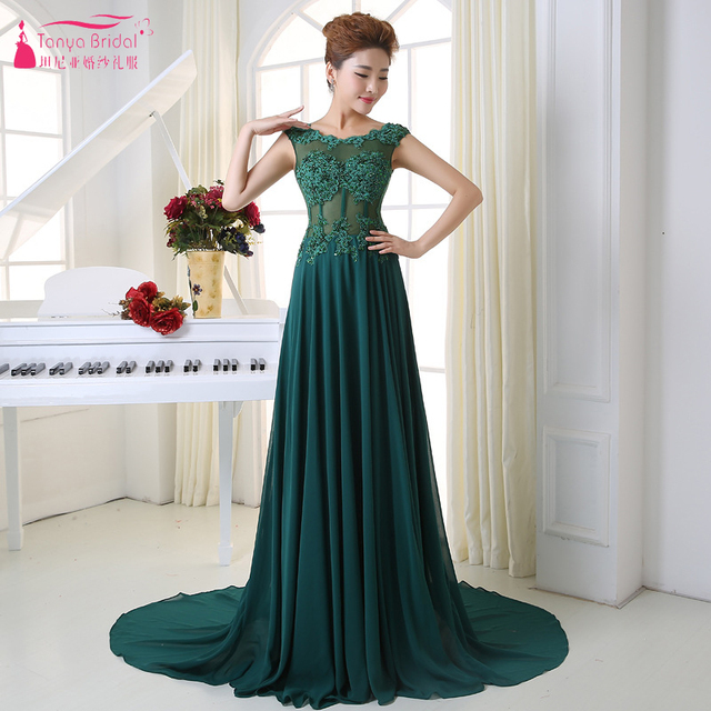 7f77df6240 Dark Green Evening Dresses 2019 See Through Chiffon Long Prom Gowns Women  Formal Wear Open Back Vestido De Festa ZE064