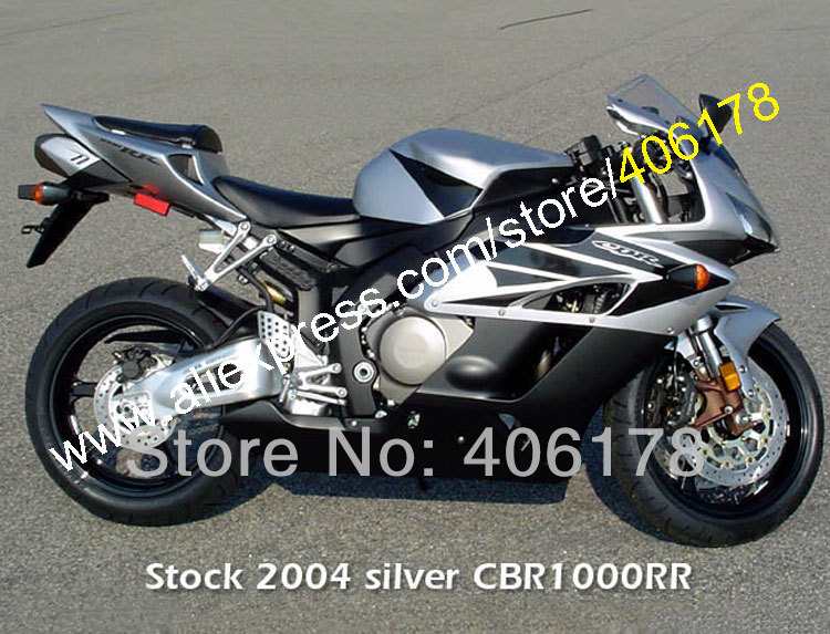 Hot Sales,Fit For Honda 04 05 CBR1000RR CBR1000 RR 2004 2005 Silver CBR 1000 1000RR Full ABS Fairing Kit (Injection molding)