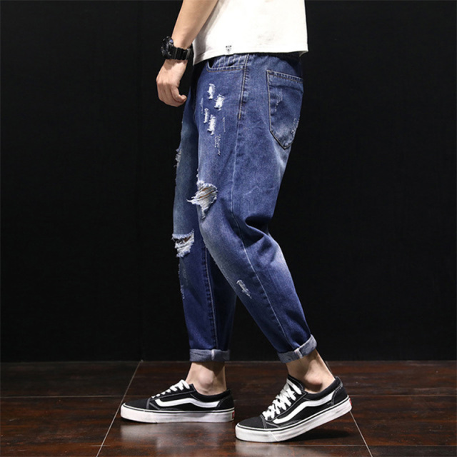 Tsingyi Destroy Wash Ripped Hole Whiten Denim Men Jeans Homme Ankle-Length Harem Pants Mens Hip Hop Streetwear Jeans Hommes