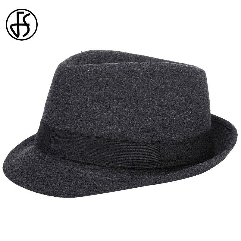 e7394807240 FS Mens Fedoras Black Panama Fashion Hat Wool Male Gangster Trilby Cap  Casual Party Wide Brim