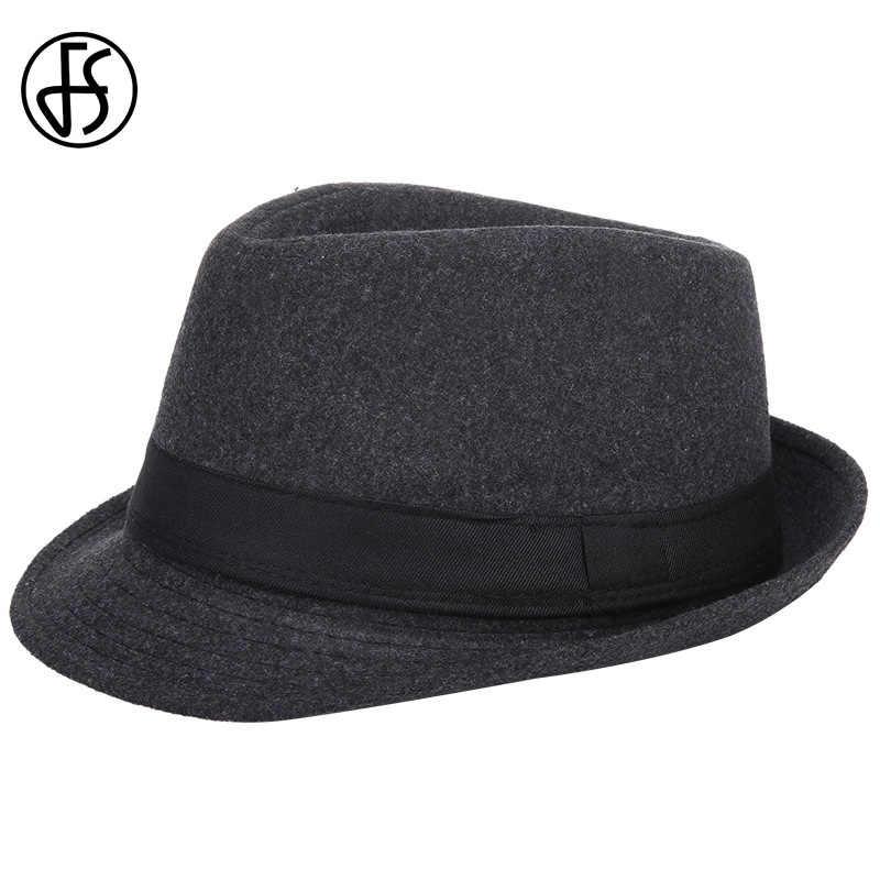 Cap Mens 7 Colors Autumn Winter Warm Felt Hats Casual Solid Jazz Caps Gangster Trilby Cap Church Male Wool Fedora Hat Headwear