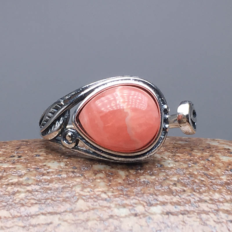 CSJ Natural Rhodochrosite Rings 925 Sterling Silver Precious Gemstone Fine Jewelry Wedding Engagment For Women Lady Gift