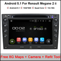 Pure Android 1024 600 Capacitive Car DVD Player GPS Navigation System Renault Megane 2 Ii 2003