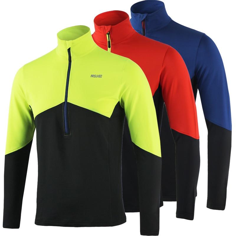 Цена за Arsuxeo сухой подходят под управлением рубашки мужчины велоспорт джерси с длинным рукавом Майка Футбол Тренажерный Зал Фитнес Тренировки Велосипед MTB Пот трикотажные изделия