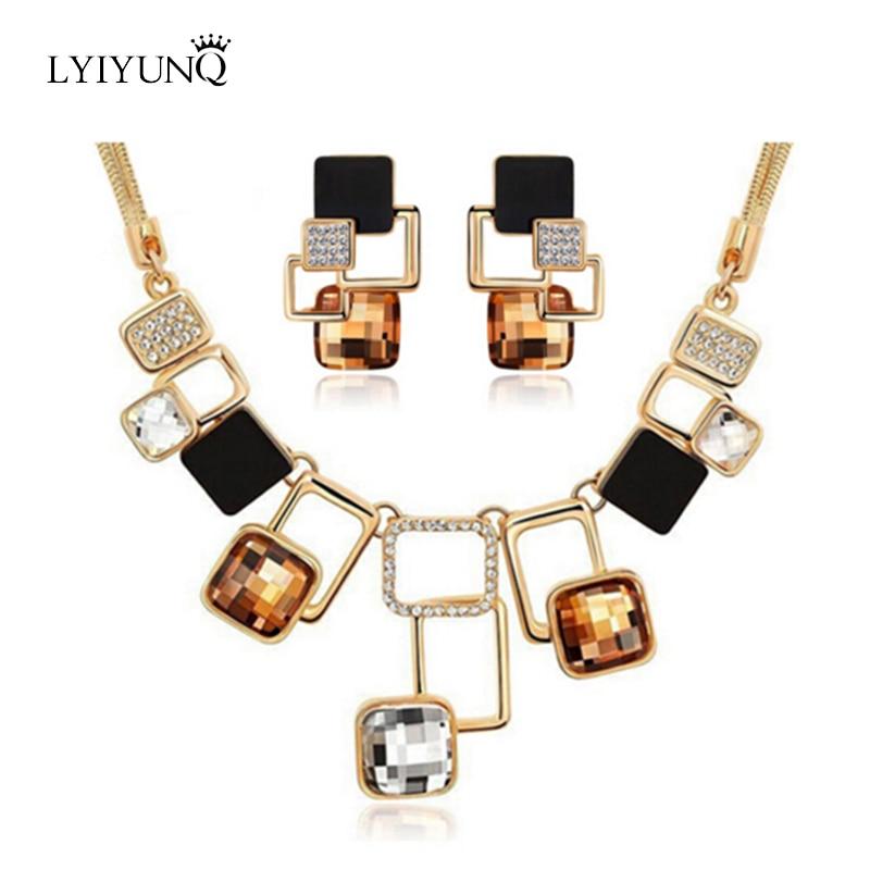 Luxus Österreichischen Kristallen Platz Schmuck Sets Geometrische Ohrringe Platz Anhänger Schlangenkette Halskette Schmuck Frauen Parure Bijoux