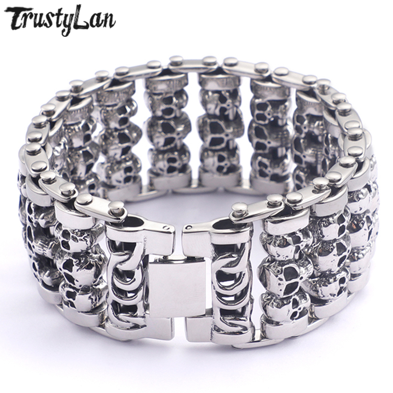 TrustyLan New Best Friend 35MM Wide Bracelet Men Jewelry 316L Stainless Steel Gothic Punk Skull Mens' Bracelets Armband Heren trustylan shiny glossy 316l stainless steel mens bracelets 2018 20mm wide chain bracelets jewellery accessory man bracelet