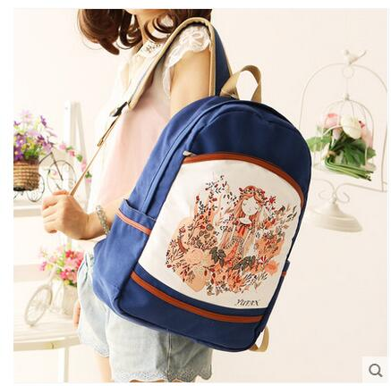 Canvas shoulder bag female 2017 new summer bag student backpack Korean version of the computer bag
