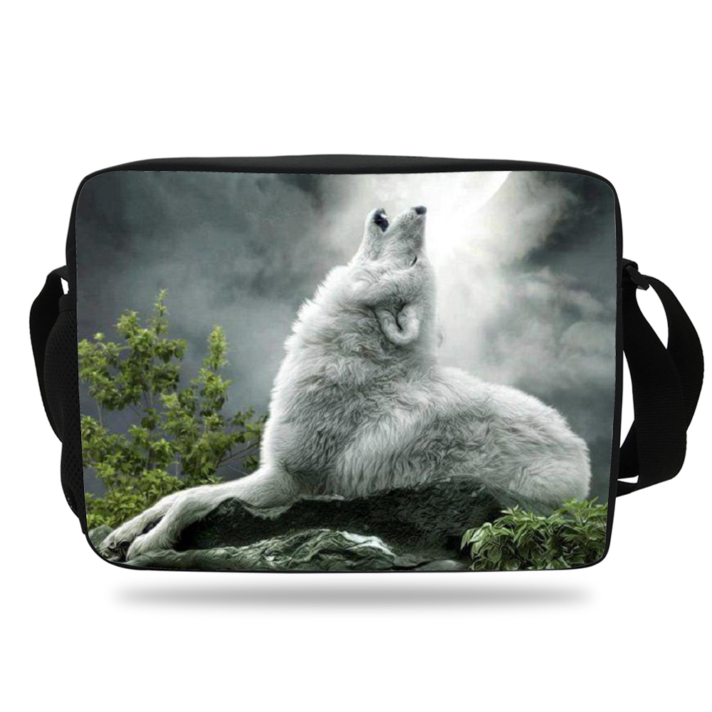 Us 17 98 20 Off Hot Boys Messenger Bag For School S Zoo Animals Print Wolf Shoulder Men Bookbag Student Agers In