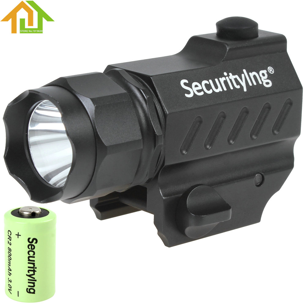 400LM SecurityIng LED Tactical Flashlight High Power Gun-Mounted XP-G R5 LED Flash Torch Light with 3.0V CR2 Battery