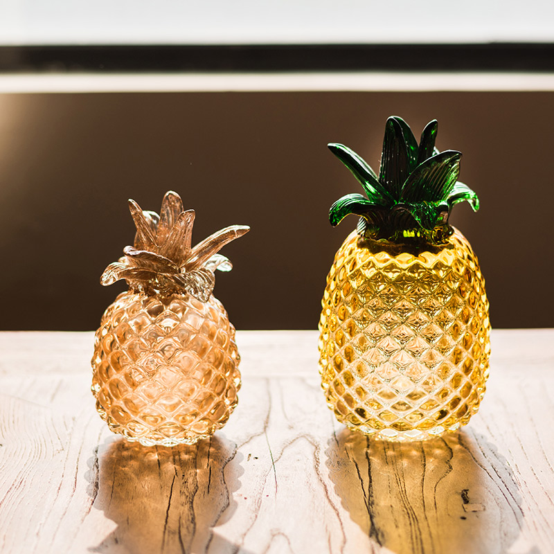 Golden glass pineapple Crafts ornaments Hand blown fruit plant miniature fairy garden figurines wedding Gifts home decoration