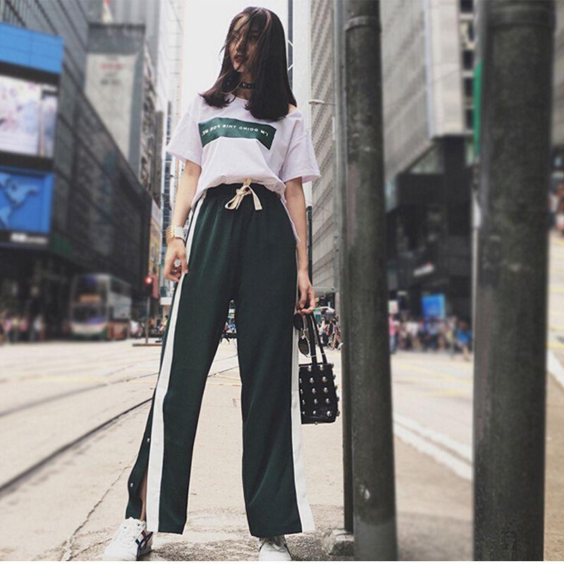 Women's 2 Pcs/Suits Letter Print T-Shirt Loose Tops + Split Striped Wide Leg Pants Set